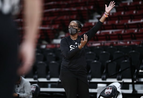 Mississippi State coach Nikki McCray-Penson coaches along the sideline in the Bulldogs' 2020 season opener Sunday against Jackson State.