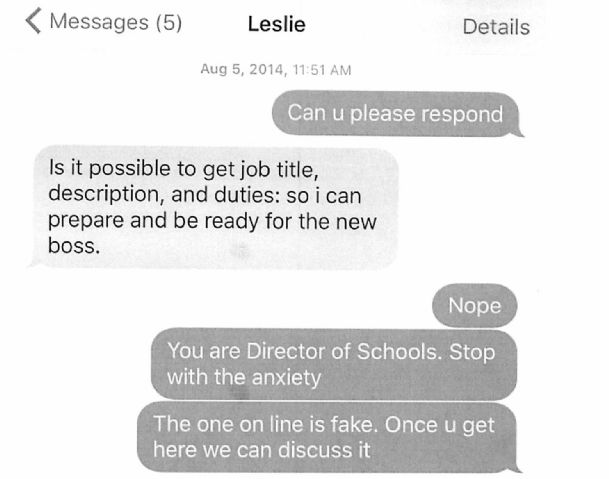 Pictured is a screenshot of a text exchange between Leslie Smith and Columbus Municipal School District Superintendent Philip Hickman included in federal court documents obtained by The Dispatch.
