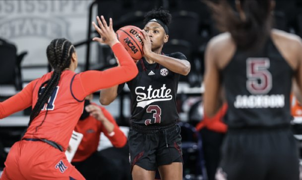 Aliyah Matharu helped pace the Mississppi State offense with 16 points in the Bulldogs' 60-56 win over Ole Miss Sunday in Starkville.