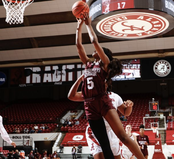 Rickea Jackson struggled throughout Sunday's first half at Alabama as Mississippi State dropped its fifth game in a row.