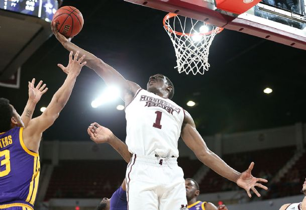 Mississippi State freshman Reggie Perry (1) has scored 18 or more points in three straight games for the Bulldogs.