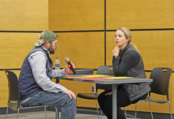 Lu McCrary pretends to interview for a job with his wife Katie McCrary at the Career and Technical Center on Wednesday. The couple own McCrary West Construction, one of the founding businesses of the FORGE Foundation, which works with area students to prepare them to enter the workforce. Lu and Katie McCrary spoke to students about soft skills to prepare them for today, when more than 300 students will have mock interviews with area industries as part of FORGE Foundation's Soft Skills University.