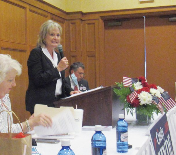 U.S. Senator Cindy Hyde-Smith addresses a group of about 50 people during Tuesday's Lowndes County Republican Women luncheon at Lion Hills Center in Columbus. Hyde-Smith, a Republican, faces Democrat Mike Espy and Libertarian Candidate Jimmy Edwards in the Nov. 3 election.