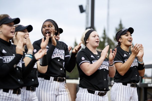 The Mississippi State softball team celebrates its win over UT Martin on March 1 at Nusz Park in Starkville. The Bulldogs won their last 14 games and held a record of 25-3 before their season was officially canceled last Tuesday.
