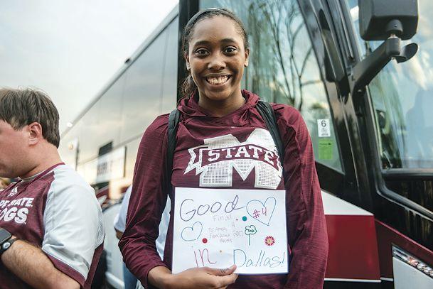 Mississippi State University women's basketball player Ameshya Williams shows off her handmade
