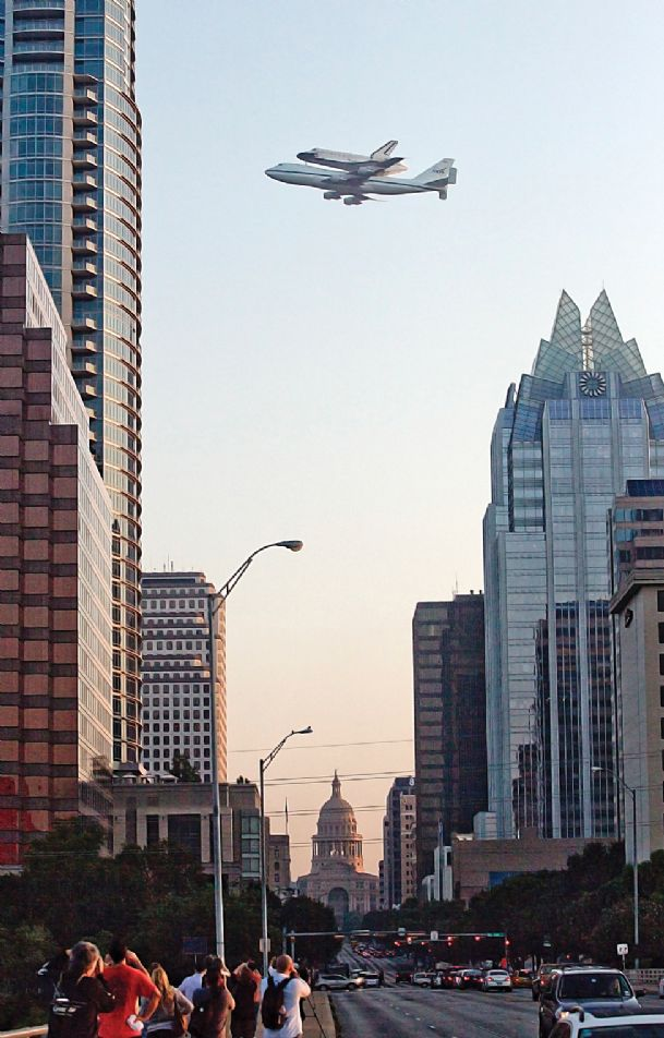 The Space Shuttle Endeavour is ferried by NASA's Shuttle Carrier Aircraft (SCA) over downtown Austin, Texas early Thursday.   Endeavour is making a final trek across the country to the California Science Center in Los Angeles, where it will be permanently displayed.