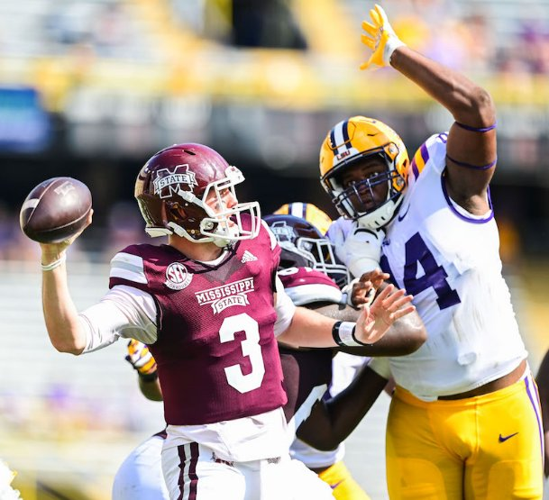 Mississippi State quarterback K.J. Costello drops back for a throw during Saturday's game at LSU.