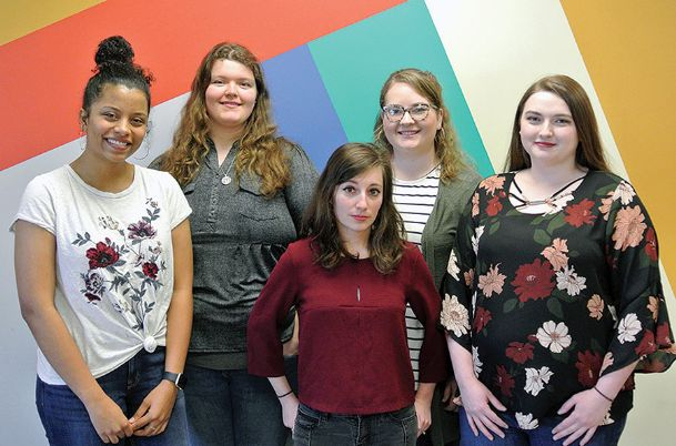 """Mississippi University for Women graduating art majors, from left, Kaylee Ashford of Columbus, Natalie Roper of Crystal Springs, Pauline Pimolle of Marseille, France, Ladanna Jones of Kossuth and Haley Sipes of Ashland have their senior exhibition """"Convergence� at The W."""