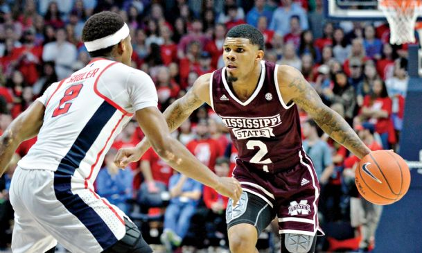Mississippi State guard Lamar Peters (2) handles the ball against Ole Miss guard Devontae Shuler (2) during the first half at The  Pavilion at Ole Miss.