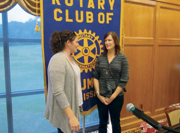 Ann Marie Chilcutt Miller, left, chats with Jennifer Spaulding, the guest speaker at Tuesday's Columbus Rotary Club luncheon. Spaulding, daughter of Rotary member Frank Howell, is a leadership and executive consultant based in Austin, Texas. She spoke on the subject of kindness as a leadership skill using information she had complied for an article she wrote for Forbes magazine.