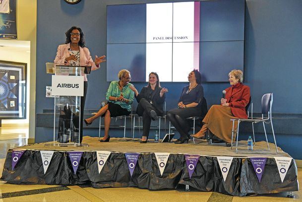 Aundrea Self, far left, moderates the Women's Empowerment Panel at Airbus Helicopters in Columbus Wednesday afternoon. The panel members were, seated from left, Judge Dorothy Colom, Airbus Chief of Staff Michelle Strenger, Mississippi State University professor Lakeisha Williams and Starkville Mayor Lynn Spruill.