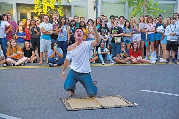 Tenth Annual Stella Shouting Contest first place winner Robby Kishaba shouts in this 2019 file photo. Submit Stella Shouting Contest videos via email by Aug. 22 to compete.