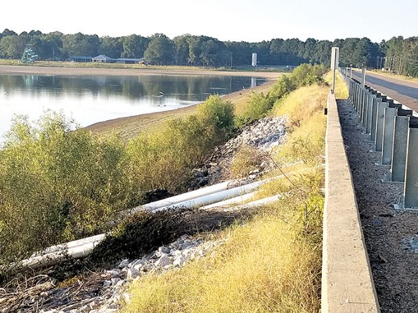 The Oktibbeha County Lake Dam is nearly empty in places. The water level has been deliberately low since 2016, when the Mississippi Department of Environmental Quality inspected the dam and found the levee to be in serious need of repair.