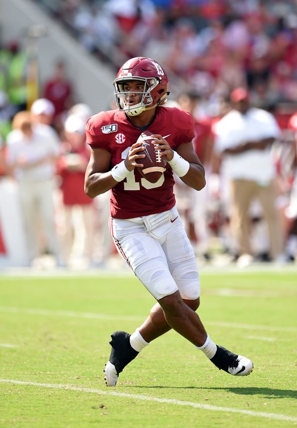 Alabama quarterback Tua Tagovailoa drops back looking to pass against New Mexico State during the first quarter Saturday at Bryant-Denny Stadium in Tuscaloosa, Alabama.