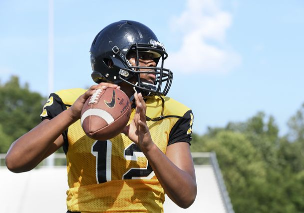 Starkville High School football player Nyjal Johnson prepares to throw the ball during a drill at practice on Aug. 7, in Starkville.