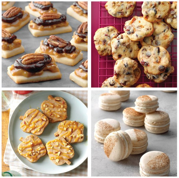 Welcome autumn with cookies that celebrate fall flavors we love, like cinnamon, pumpkin, pecans, apple and cranberries. Clockwise from top left: Caramel pecan shortbread, cranberry chip cookies, cinnamon roll macarons and caramel-apple shortbread cookies.