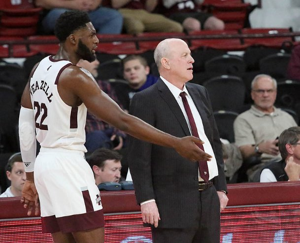 Mississippi State's KeyShawn Feazell makes a point to head coach Ben Howland during the second half against Florida International on Nov. 5 in Starkville.