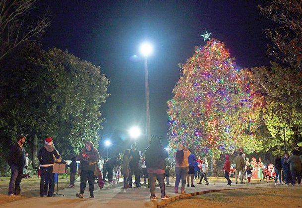 The 2019 Christmas tree lighting at the Tombigbee Pedestrian Bridge is pictured in this Dispatch file photo. This year's tree lighting will be broadcast virtually on Facebook Live on Monday at 6 p.m.