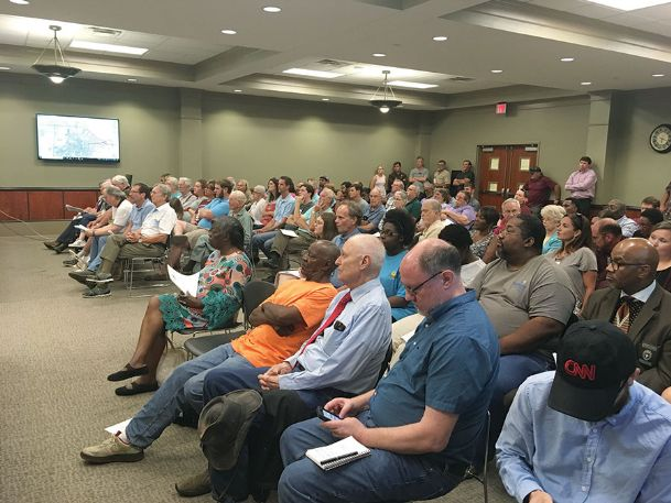 People crowded city hall on Tuesday as the board of aldermen held its first public hearing on annexation. The annexation has drawn stiff opposition from residents living in the proposed annexation area to Starkville's east.