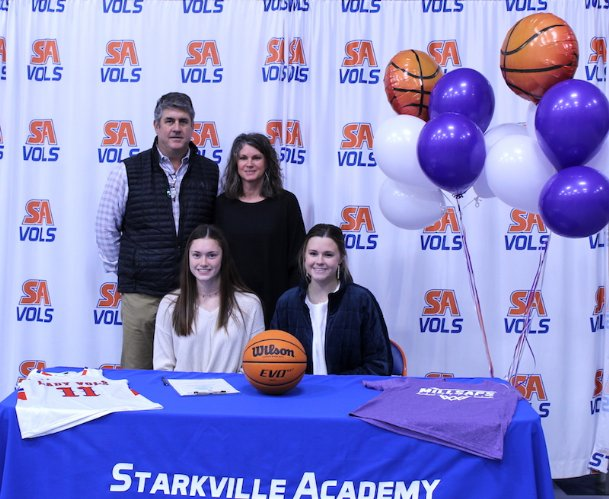 Starkville Academy senior Lillee Alpe crossed the 1,000-point scoring threshold over a year ago and has only continued to produce for the Volunteers. Alpe (front left) signed to Millsaps College in Jackson on Wednesday.