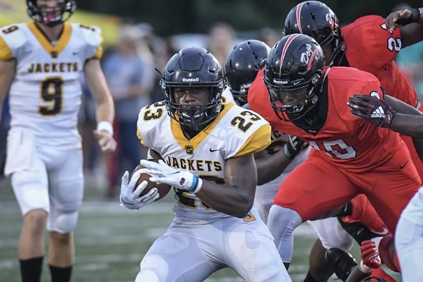 Starkville running back Amariyon Howard finds a hole for a gain against a stingy Brandon defense on Aug. 23. Howard is a MSU commit and will play for the Bulldogs in the fall of 2021.