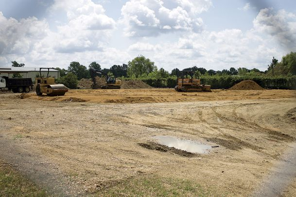 Early work has commenced at the site of an Oktibbeha County storm shelter at the Lynn Lane-Industrial Park Road intersection in Starkville. The project, which has been in the works for years, is expected to be finished next year.