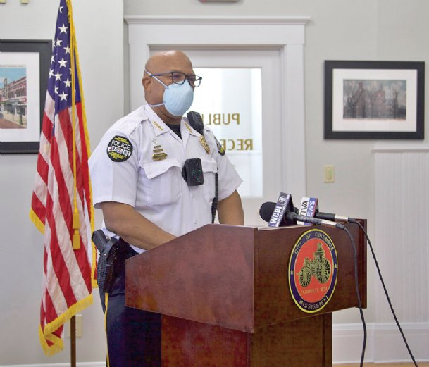 Columbus Police Chief Fred Shelton asks the public at a Wednesday press conference to comply with the city's mask mandate in light of recent spikes in COVID-19 cases and increasing complaints about violations of the order.