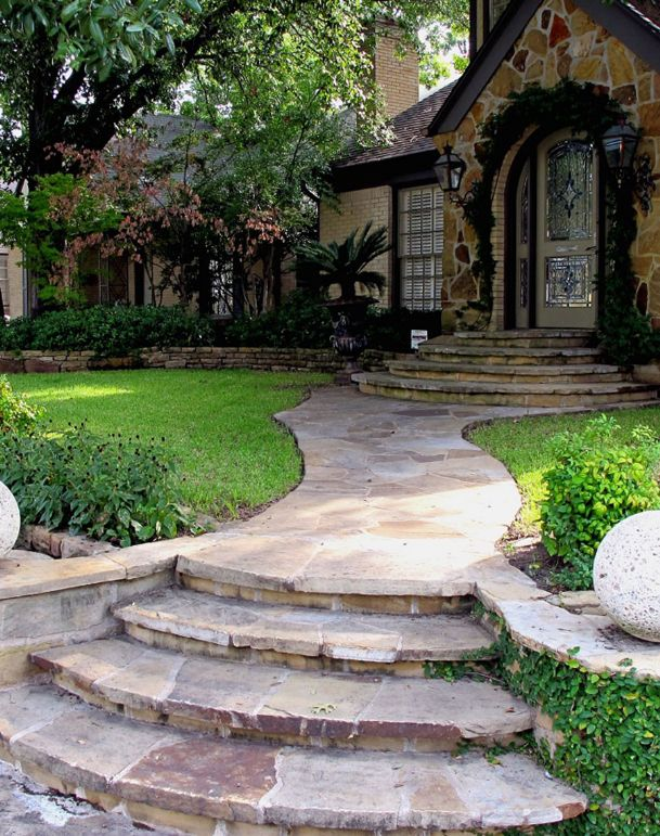 Something as simple as curving a walkway can increase the good energy in a lawn or garden.