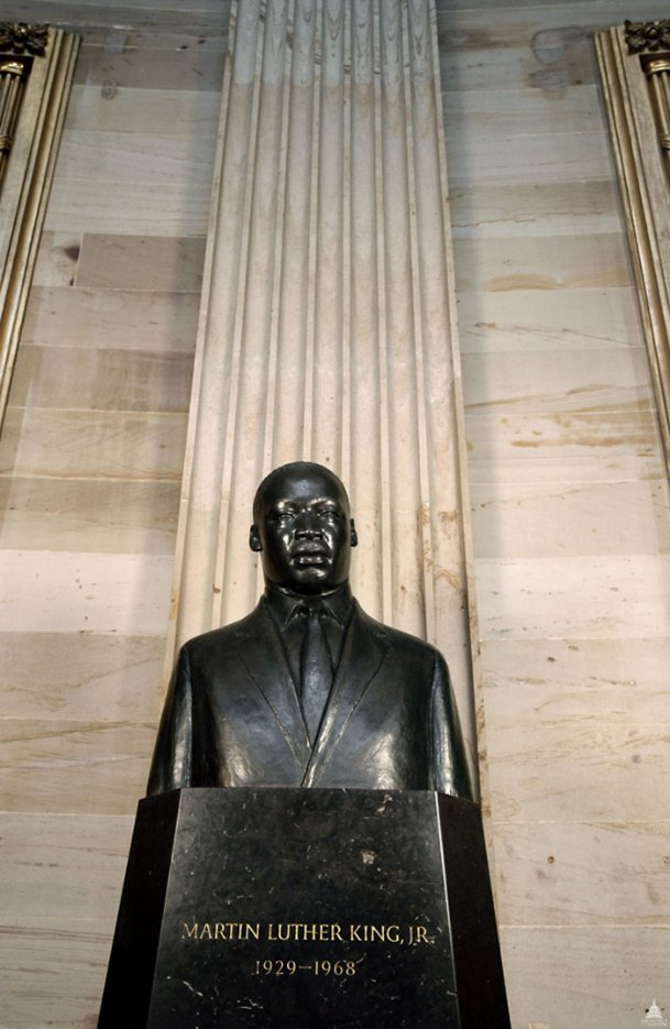 The bust of Dr. Martin Luther King, Jr. is pictured on display in the U.S. Capitol Rotunda. The bust was unveiled in 1986 on what would be King's 57th birthday.
