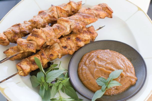 In this Aug. 5, 2013, photo, chicken kebabs with chili banana sauce are shown, in Concord, N.H.
