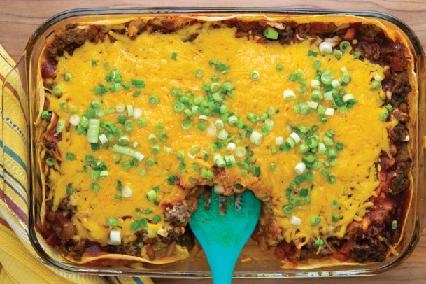 Need a weeknight meal? Try this enchilada casserole.