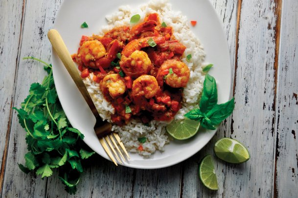Coconut curry shrimp rice bowl is another recipe from Joel Marion's book