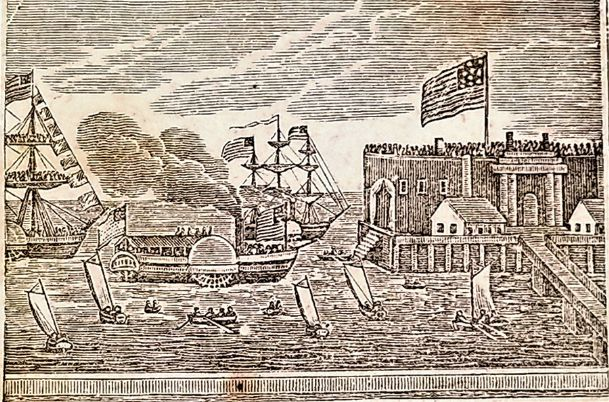 The landing of Lafayette at Castle Garden, New York, on his return to America on Aug. 16, 1824, as shown in an 1844 engraving.