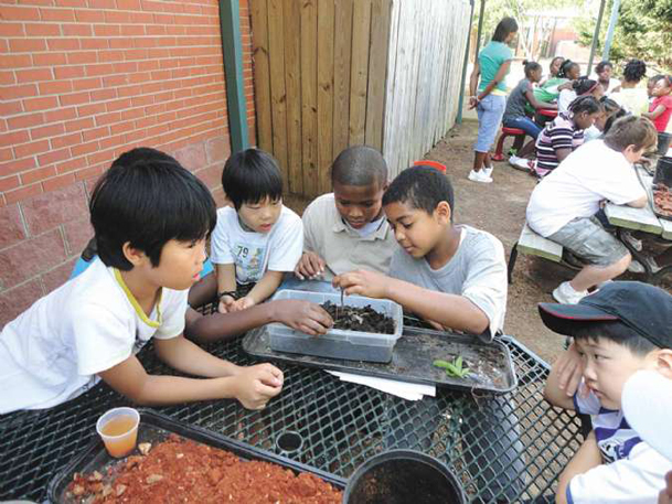 """Students play with worms in the dirt during a farming lesson at """"Fun on the Hill,� a Starkville School District summer camp held at Henderson Ward Stewart Elementary. The camp began Tuesday and runs through July 7."""