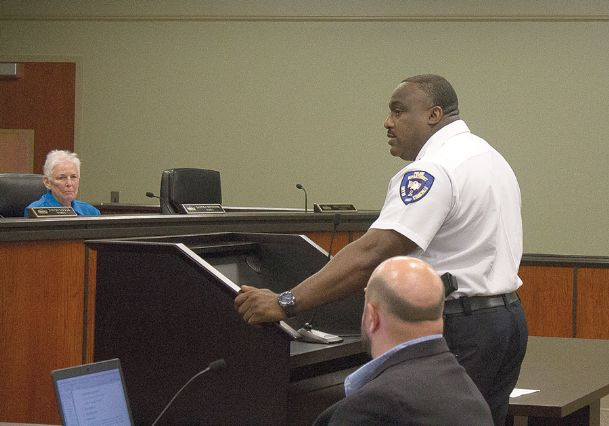 Starkville Police Chief Frank Nichols talks to aldermen during Tuesday's meeting. Nichols, who has served with Starkville Police Department since 1992, announced his intention to retire at the end of the year.