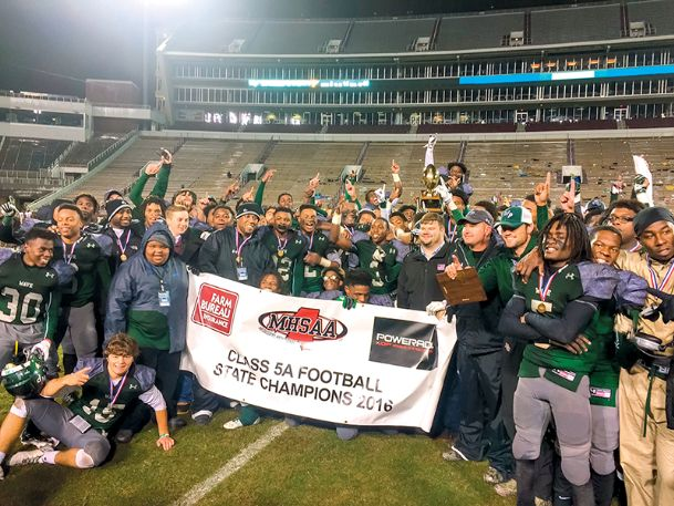 The West Point High School football team celebrates its 29-8 victory against Laurel on Saturday in the Mississippi High School Activities Association (MHSAA) Class 5A State title game at Mississippi State's Davis Wade Stadium.