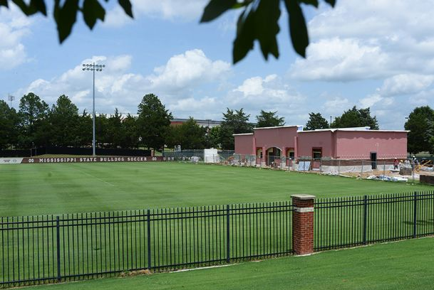 A look from the side of the new $1.8-million field house for the Mississippi State women's soccer team. The facility is on track to be completed by Sept. 1.