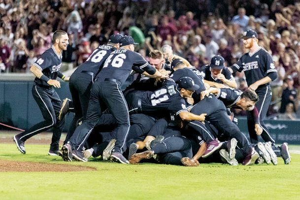 Mississippi State University baseball players celebrate after beating Stanford in the Starkville Super Regional on Sunday. The Bulldogs have qualified for the College World Series for the second-straight year.