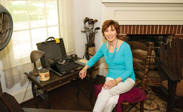 Donor Sandra Miller Black of Madison is pictured among some of William Faulkner's belongings at Rowan Oak in Oxford.