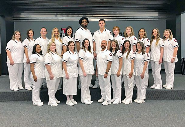 All students in the 2018 Associate Degree Nursing Class at East Mississippi Community College passed the National Council Licensure Examination on their first attempt. This is the first class to achieve a 100 percent pass rate on their first attempt since the program was reinstated in 2010. Pictured, front row, from left, are Jabria Richardson, Caitlyn Parker, Vicki James, Burgandy Gibson, Chip Slaughter, Jessica Brewer, Morgan Eatman and Kathryn Sprayberry. In back, from left, are Morgan Weems, Megan Helms, Robert Sanderson, Meagan Young, Stephanie Brown, Eric Lawson, Nathaniel Pugh, Conner Hutson, Abby Lhamon, Brittney Brown, Riley Douglas and Katelyn Woodson.