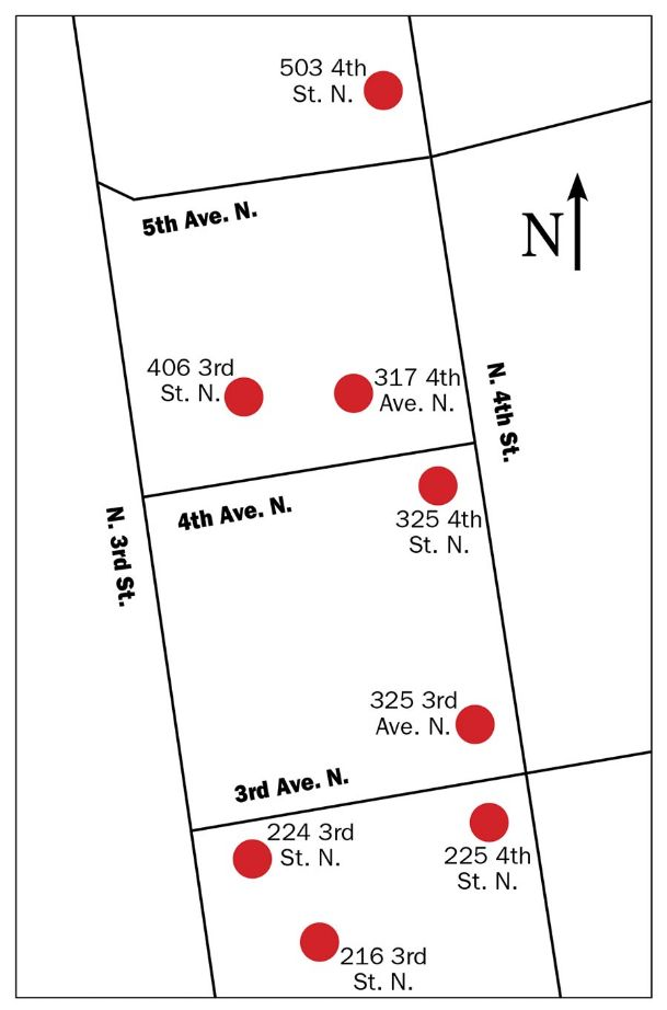 Pictured is a map of eight vacant houses in the Burns Bottom area of Columbus. The city plans to demolish the houses to help support an ongoing Columbus Redevelopment Authority project in the area.