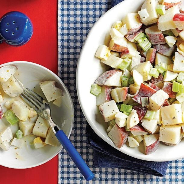 Give potato salad a tangy twist with soy sauce, yogurt, cider vinegar and seasonings this Labor Day weekend. Flavor the holiday with variations to some family favorites.