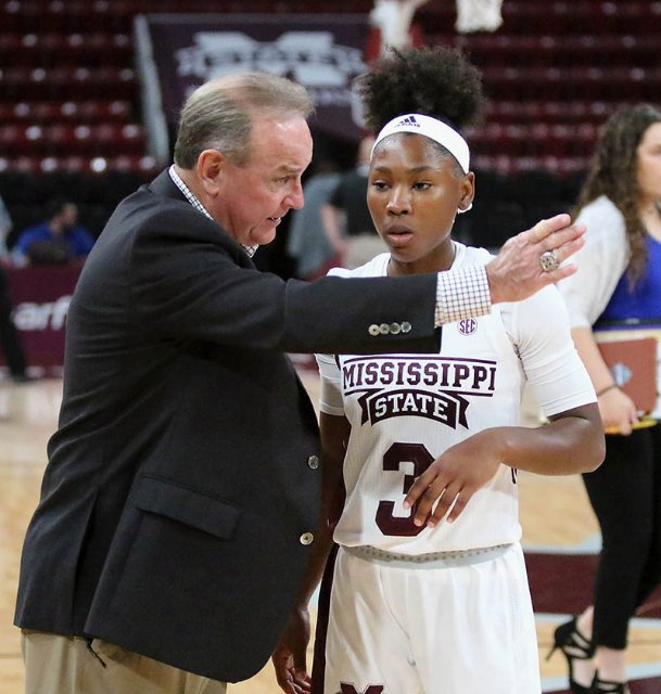 Mississippi State head coach Vic Schaefer talks to Aliyah Matharu (3) after they defeated Lubbock Christian Monday night in Starkville.