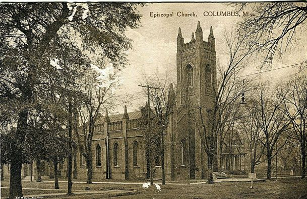 A postcard of St. Paul's Episcopal Church and its rectory that in 1911 was Tennessee Williams' first home. The photo was apparently taken between 1909 and 1915 and appears to show a nurse or nanny with a small child beside the rectory around the time Williams would have been a child there. It is interesting that the Rev. Joseph Holt Ingraham served as a minister there,