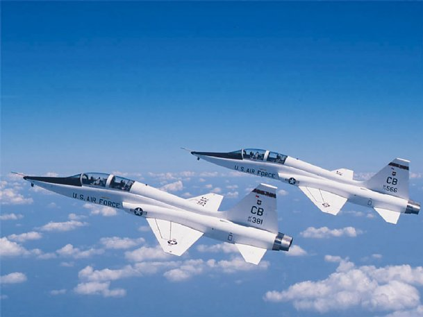 Two T-38C Talon jets are shown in this Dispatch file photo. Two Columbus Air Force Base pilots, a student and an instructor, died after the T-38 they were flying crashed at about 5:30 p.m. Friday outside Dannelly Field, an Air National Guard base in Montgomery, Alabama. The Air Force is investigating the cause of the crash.