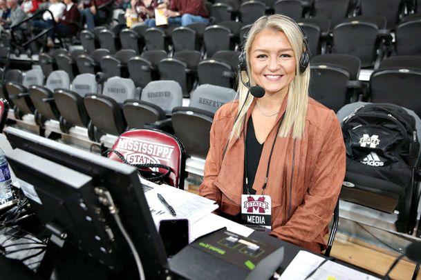 Blair Schaefer sits on the sideline of a Mississippi State women's basketball game as a media member. After graduation, Schaefer worked as a color commentator and analyst for SEC Network and ESPN before deciding to return to MSU women's basketball as a staff member.