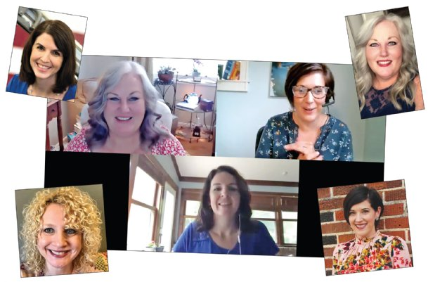 A screen shot from A Gathering Space Zoom session shows Tawnya Blalock and Megan Colvin, top, and Anna Pantano, below, talking about how our brains integrate our experiences during difficult times. Four area women, all licensed counselors or life coaches, are joining forces to share strategies online for coping with pandemic stress, at no cost. The four, in headshots, are Pantano of Columbus, top left; Blalock of Starkville, top right; Karla Morgan of Starkville, lower left; and Colvin of Starkville, lower right. Their next Zoom session will be available at 3:30 p.m. July 23. Register through the group's Facebook page.