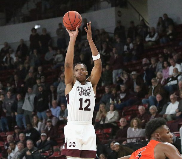Mississippi State's Robert Woodard II makes the go-ahead 3-pointer during Friday's victory against Sam Houston State in Starkville.