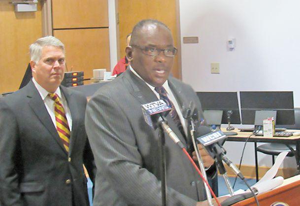 Columbus Mayor Robert Smith addresses members of the media this morning regarding the resignation of Police Chief Tony Carleton. Carleton informed Smith of his decision Sunday night.