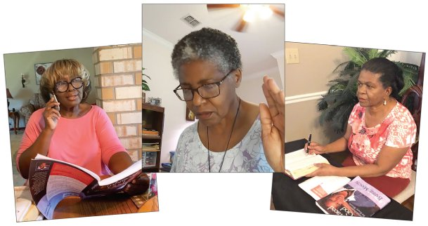 From left, Tavetia Hughes, Anita Nichols and Patricia Prowell, in their individual Columbus homes, take part Wednesday in a weekly St. James United Methodist Church women's Bible study conference call. The group used to meet weekly at the church on Military Road for Bible discussion and lunch but converted to a new format in response to the coronavirus pandemic in March. Since then, its participants have almost tripled in number.